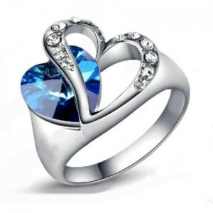 Feeling Of Love Blue Heart Finger RING