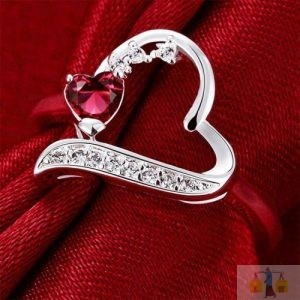 Heart Red Sterling Silver Rings